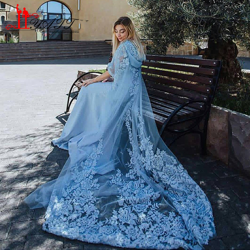 Hooded Cap Sky Blue Evening Dresses Muslim kaftan dubai arabic Robe Two Pieces Hijab Prom Evening Dress Party Gown Indian Saree