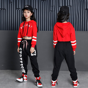Image 2 - Girls Ballroom Costume Hip Hop Jazz Dancewear Clothing Children Performance Shows Exhibition Suits Dancing Clothes Kid Hoodies