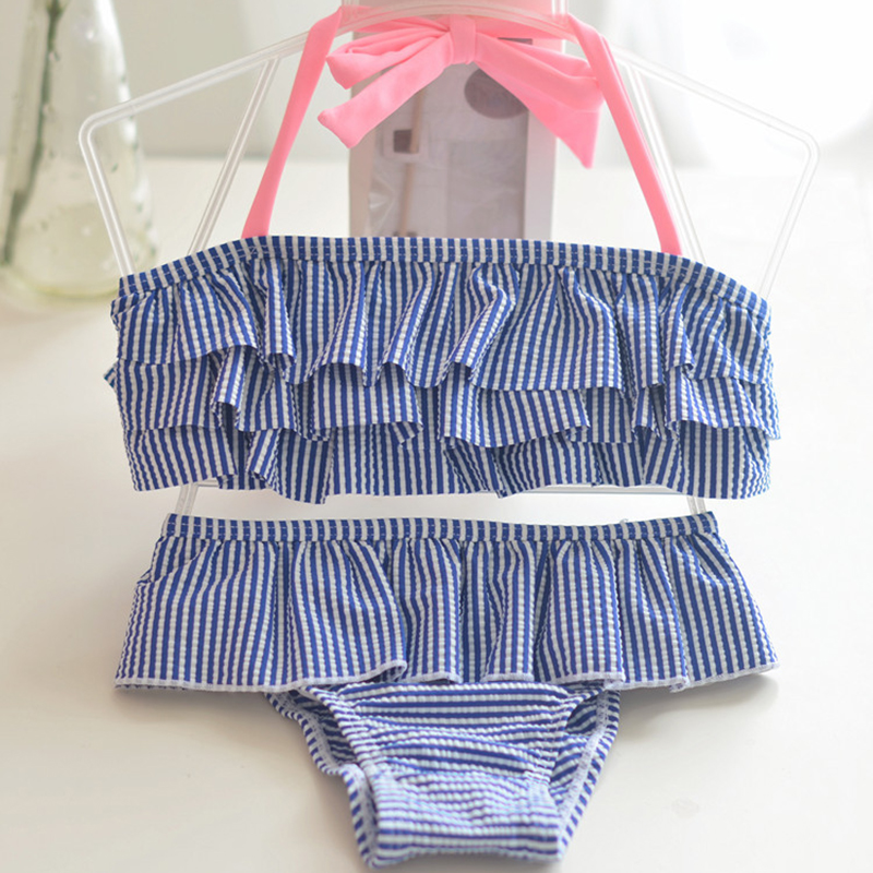 1-8 Years Baby Girl Swimsuit Striped Bathing Suits For Children Two Pieces Swimwear Beach Bikini Set Girls Biquini Infantil Suit two pieces baby girls bathing suit elsa anna sophia swimsuit children bikini set kids cartoon swimwear costumes