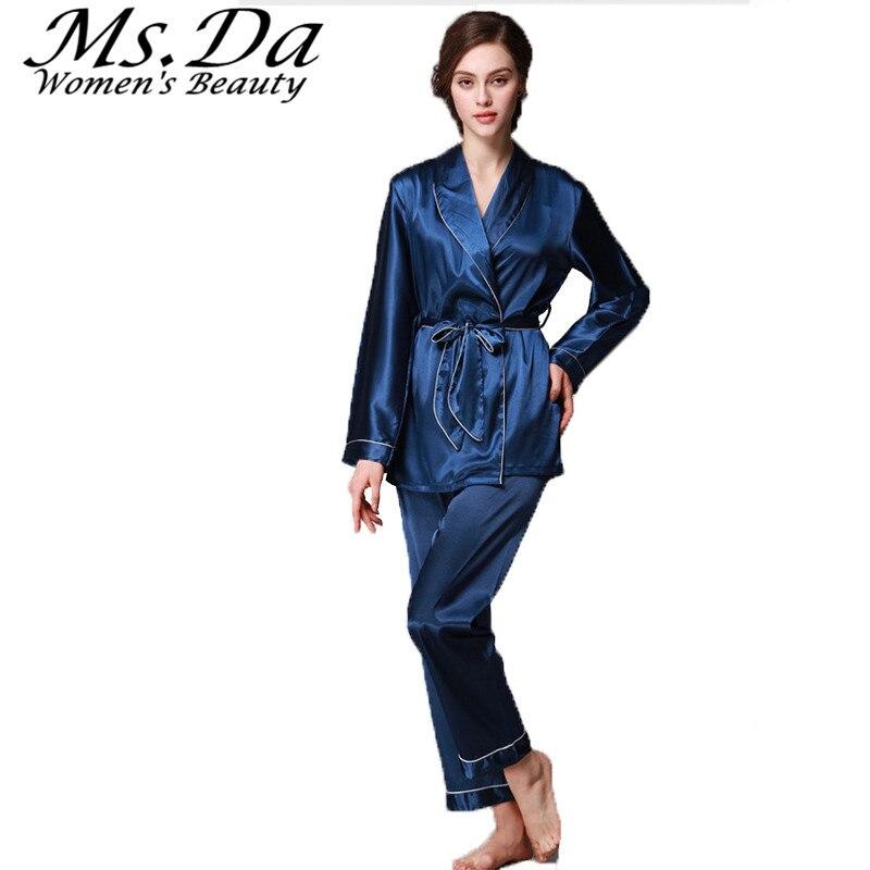 choisir le plus récent dernières tendances caractéristiques exceptionnelles US $20.58 5% OFF|Belted Nightgown Pajamas set 2pcs:Blouse+Pants Femme Silk  Pajamas Casual Costumes Women Sleepwear Mujer Pyjama Blue Black Pink-in ...