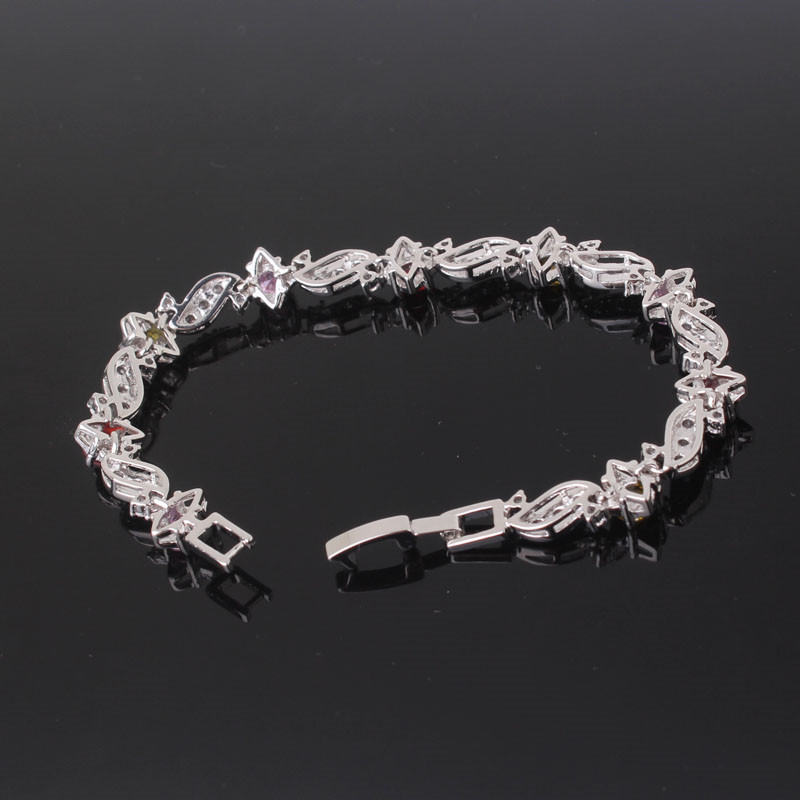 BUDONG 18cm Fashion Hand Bracelets for Women Silver/Gold Color Bracelet Pink Crystal Cublic Zirconia Jewelry Bangles XUL104 18