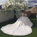 Top Fashion Wedding Dress 2017 Luxury Beading With Long Train Off Shoulder Long Sleeve Vestidos De Noiva Muslim Wedding Gowns