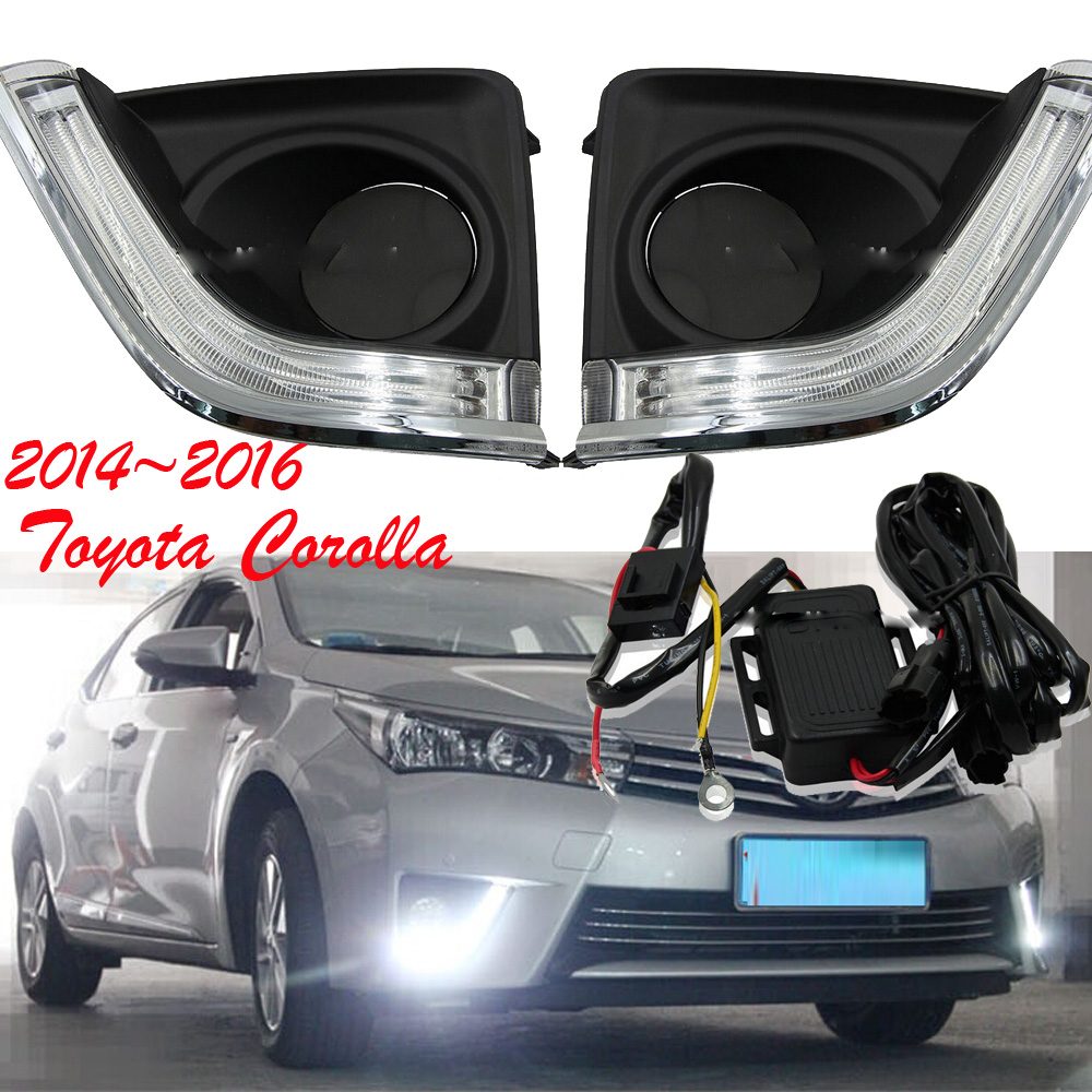 car-styling,2014~2015 Corolla daytime light,led,2pcs/set,corolla fog light;car-covers,chrome,corolla special car trunk mats for toyota all models corolla camry rav4 auris prius yalis avensis 2014 accessories car styling auto