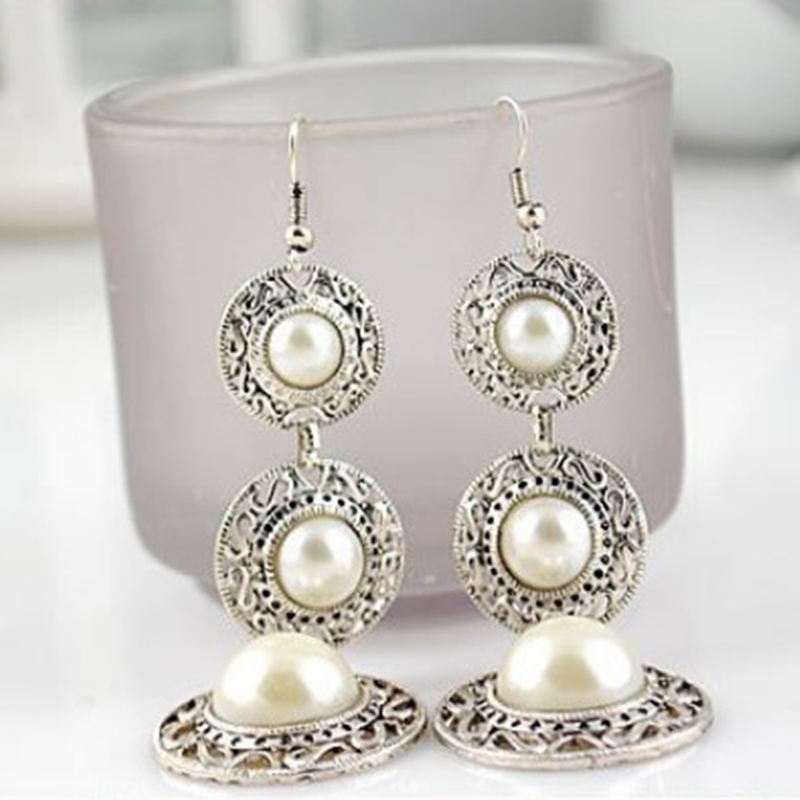 E0389 Vintage Pearl Drop Earring For Women Ancient Sliver Color Long Pendant Dangle Earring Statement Ear Jewelry Exquisite Gift