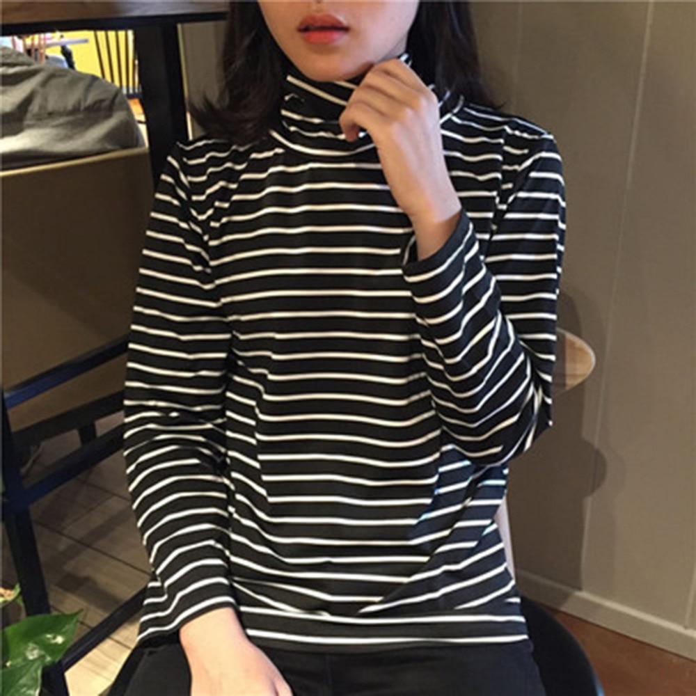 Tee Shirts Woman 2020 Spring New Korean Harajuku Striped Turtleneck T-shirt For Women Long Sleeve T-shirts Casual Tops(China)