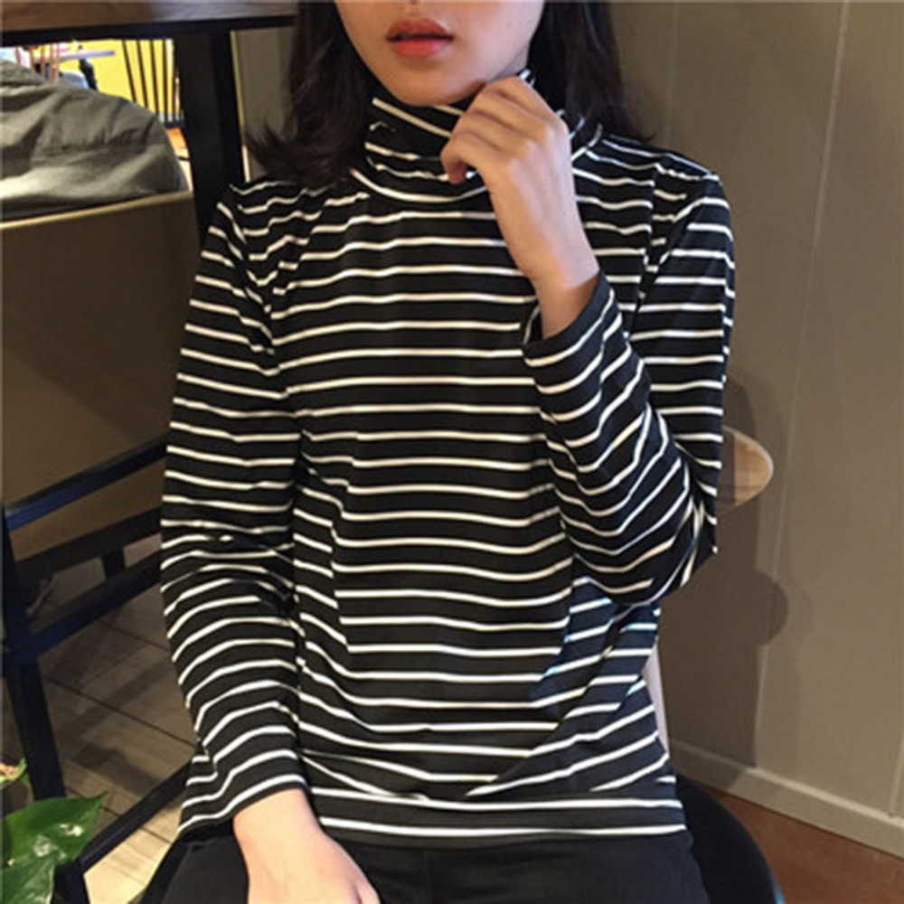 Tee Shirts Woman 2019 Spring New Korean Harajuku Striped Turtleneck T-shirt For Women Long Sleeve T-shirts Casual Tops