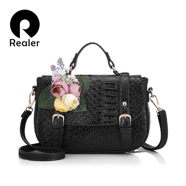 REALER brand design flower bag women embossed handbag high quality PU leather  tote bag female shoulder messenger bags 61a51d9764058