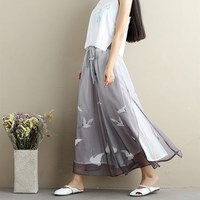 2019 Women Thin Chiffon Casual Pants Print Ankle Length Wide Leg Pants Chinese Style Loose Trousers