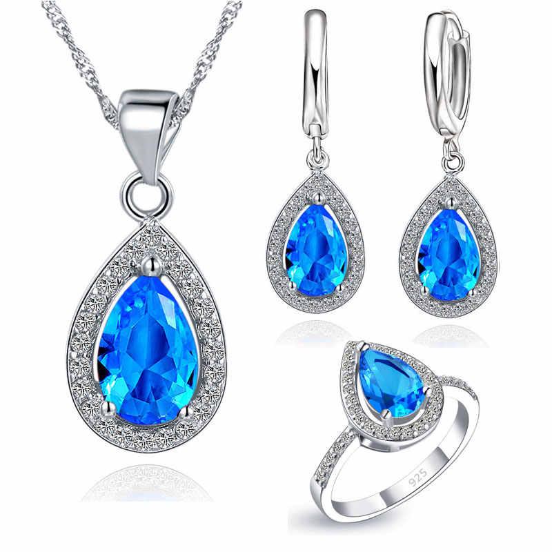Mode Wasser Tropfen Shap 925 Sterling Silber 3 Farbe Kristall Halskette Ohrring Finger Ringe Schmuck Sets für Frauen Mädchen Geschenk