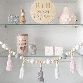 Guirlande de fils et de perles pour chambre d'enfant | Style nordique, guirlande suspendue avec pompon, accessoires de décoration de perles pour pépinière, pour chambre d'enfant, décoration de tente, cadeau idéal