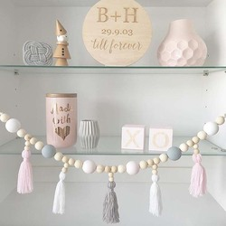 Nordic Kid Baby Room Yarn and Bead Garland Hanging with Tassel Nursery Pearl Decor Props For Kids Room Gift Giving Tent Ornament