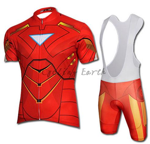 Image 2 - 9D pad,Captain America Spiderman Superman Iron Man short sleeve cycling jersey bib shorts set Ropa Ciclismo bicicleta clothes-in Cycling Sets from Sports & Entertainment