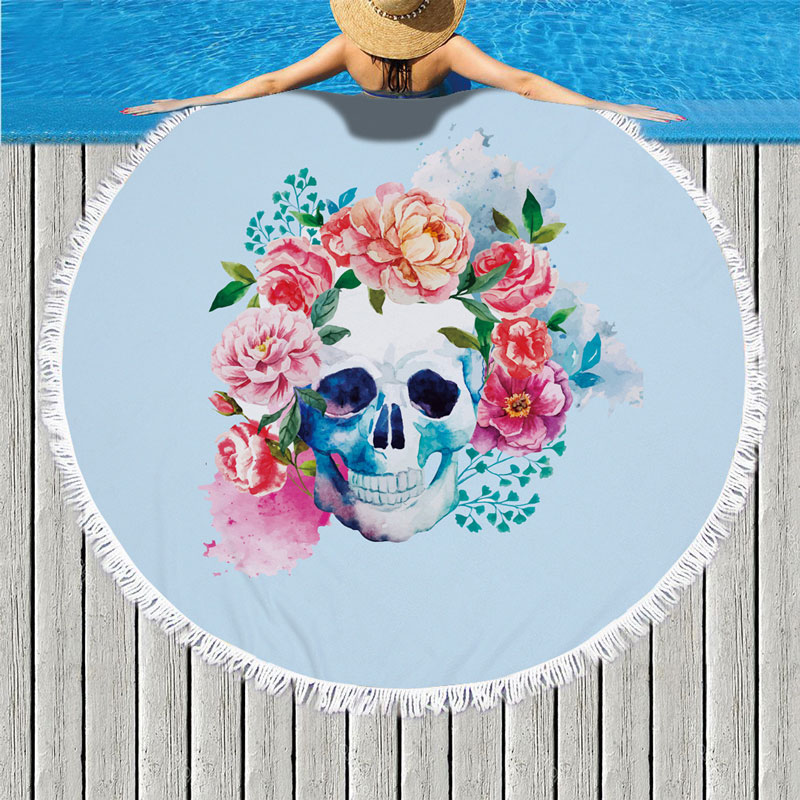 Large Blue Beach Towel For Adults Rose Flower Skull