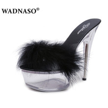 WADNASO Sexy Summer Fashion High Heels Slippers Mules Transparent Crystal Platform Shoes 15 CM Jelly Plus Size 34-42