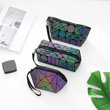 Maelove Luminous Bag Women Geometric Bag  Makeup handbag Designer Folding Travel Make Up Bag small purse wholesale