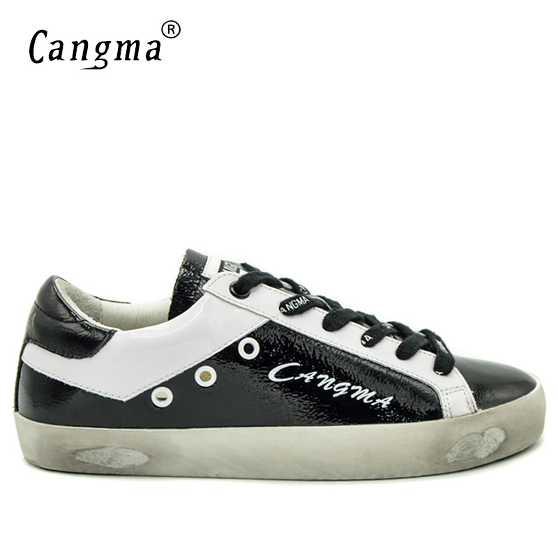 CANGMA Brand Sneakers Men Autumn Footwear Genuine Leather Shoes Deluxe Black Casual Shoes Breathable Male Lace-up Handmade Flats 2017 simple common projects breathable lace up handmade leather shoes casual leather shoes party shoes men winter shoes