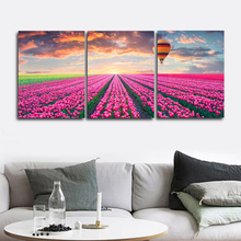 Laeacco 3 Panel Spring Purple Flower Wall Artwork Garden Posters and Prints Canvas Calligraphy Paintings Home Living Room Decor