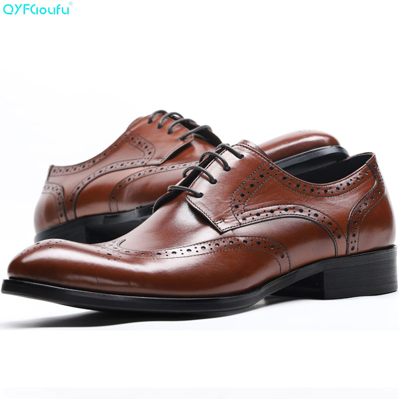 QYFCIOUFU Fashion Italian Mens Shoes Genuine Leather Luxury Carved Formal Brogue Shoes Oxford Male Shoes Business Dress ShoesQYFCIOUFU Fashion Italian Mens Shoes Genuine Leather Luxury Carved Formal Brogue Shoes Oxford Male Shoes Business Dress Shoes