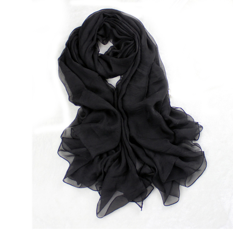 Black Solid Color Chiffon Pashmina Hijab Women Long Large 180 150 cm  Scarves Shawls All-Match Volie Stole Chal Mujer Bufanda 1c2746acca84
