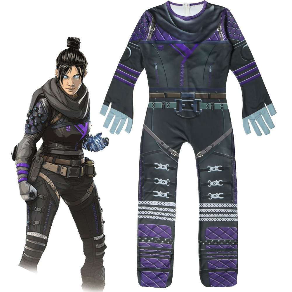 Game Apex Legends Ghost Spirit Wraith Cosplay Costumes Kids Adult Zentai Jumpsuits Bodysuit Suit Party Carnival New 2019