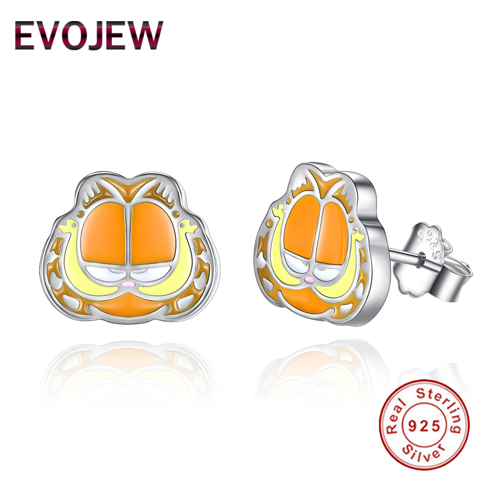 EVOJEW Authentic 925 Sterling Silver Enamel Lovely Orange 3D Cartoon Stud Earrings For Women Girls Jewelry