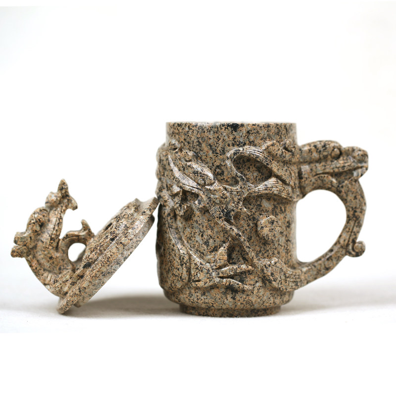 Inner Mongolia Chinese maifan stone mug hand-relief dragon tea cup office high-end gift 400ML Inner Mongolia Chinese maifan stone mug hand-relief dragon tea cup office high-end gift 400ML
