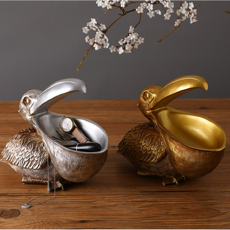 Европа Ретро Смола большой рот Pelican животных ювелирных изделий креативный ящик для хранения мультифункциональная коробка для хранения дом...