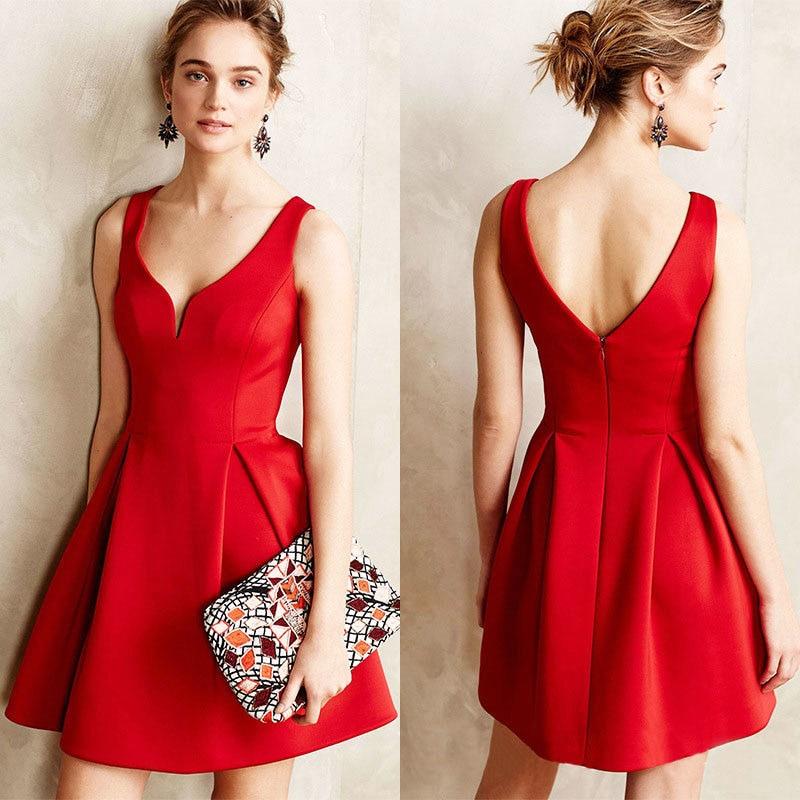 2017 qwer femmes v-cou dete style empire robes sexy partie vestidos plus la taille ladie noir/rouge/bleu avec sans manches robes