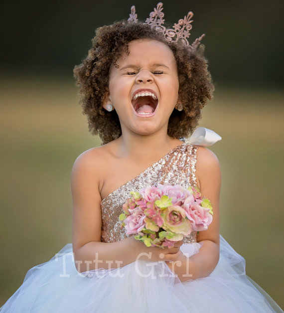 7063fce4d ... One Shoulder Flower Girl Dress for Wedding Blush Gold and Off White  Tutu Girl Dress Gold ...