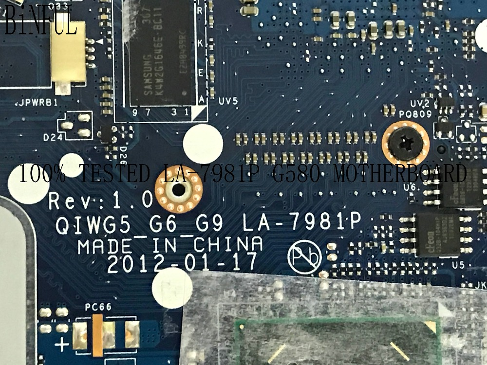 BiNFUL AVAILABLE PROMISED WORKING NQIWG5_G6_G9 LA-7981P FOR LENOVO G580 LAPTOP MOTHERBOARD VIDEO CARD <font><b>GT630M</b></font> 2GB image