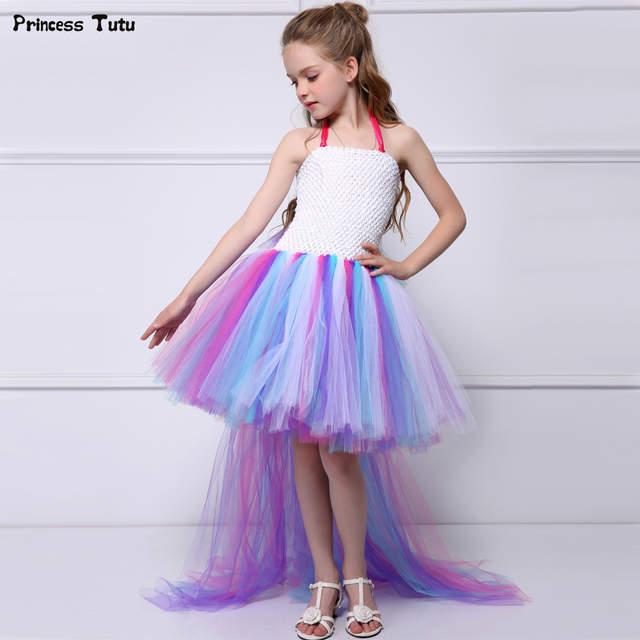 7e40afa9c03f placeholder Bustle Unicorn Tutu Dresses For Girls Birthday Party Dress Up  Kids Halloween Costume Train Tail Colorful