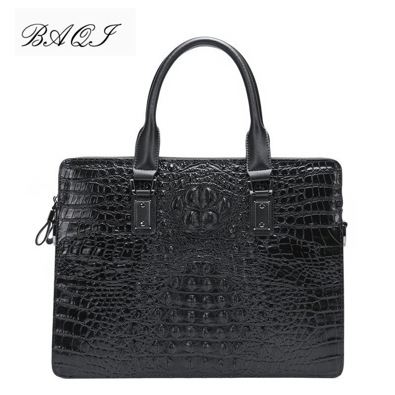 BAQI Men Briefcase Bag Men Handbags Crocodile Pattern Cow Leather Man Shoulder Messenger Bag High Quality Computer Business Bag in Briefcases from Luggage Bags