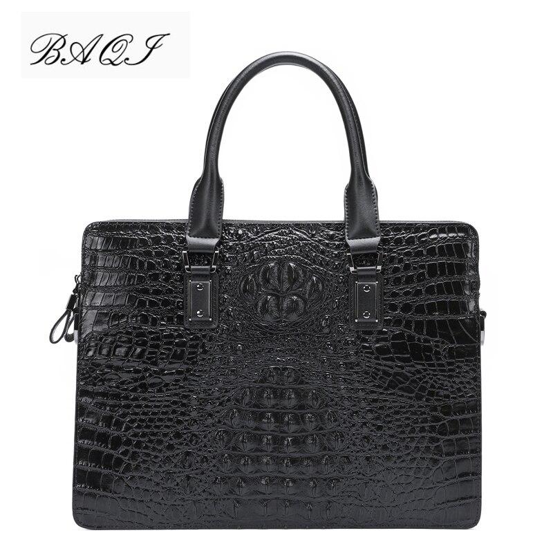 BAQI Men Briefcase Bag Men Handbags Crocodile Pattern Cow Leather Man Shoulder Messenger Bag High Quality Computer Business Bag