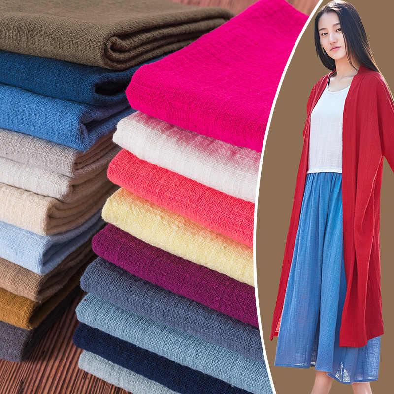 50x135cm Color sólido algodón Lino tela hecha a mano ropa vestido bambú crepé Slub moda ropa DIY costura artesanal material
