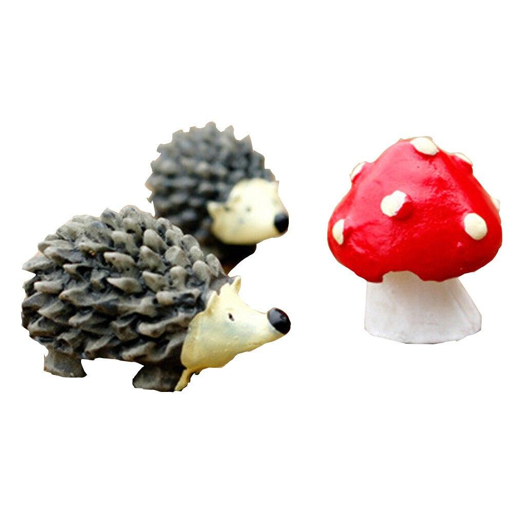 Mossfairy Miniature Ornament Hedgehog Mushroom Set Decor Fairy Garden 2017 hot mini Hedgehog Mushroom Set decorations for home