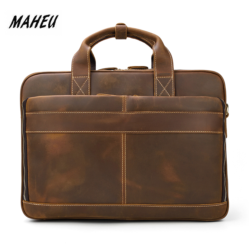 MAHEU Doctor Leather Men Portfolio Genuine Leather Lawyer Briefcase Document 15