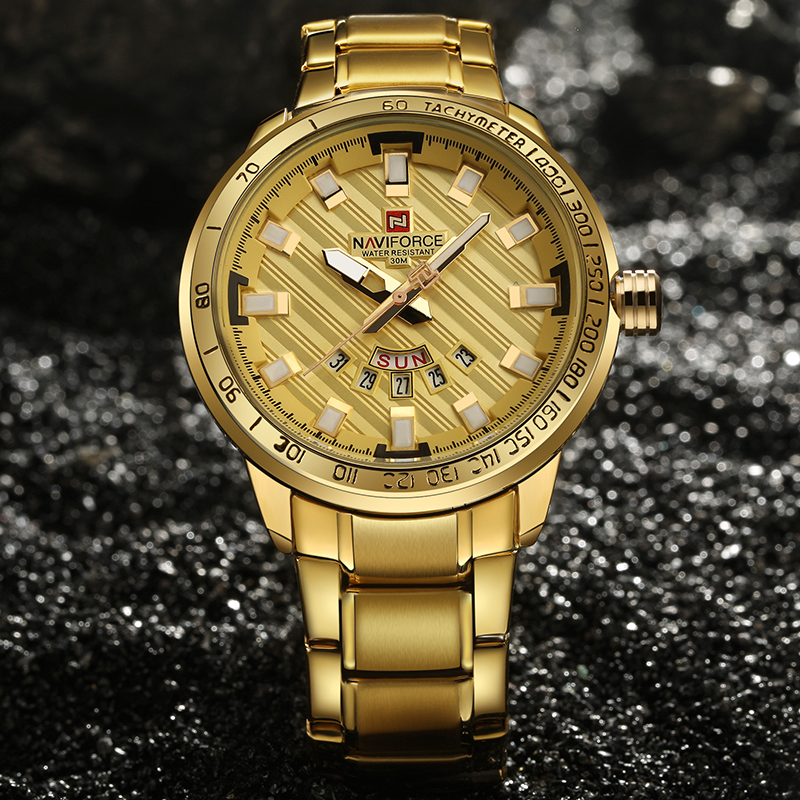 NAVIFORCE Luxury Brand Men Stainless Steel Gold Watch Men's Quartz Wrist Watches Man Sports Waterproof Clock Relogio Masculino