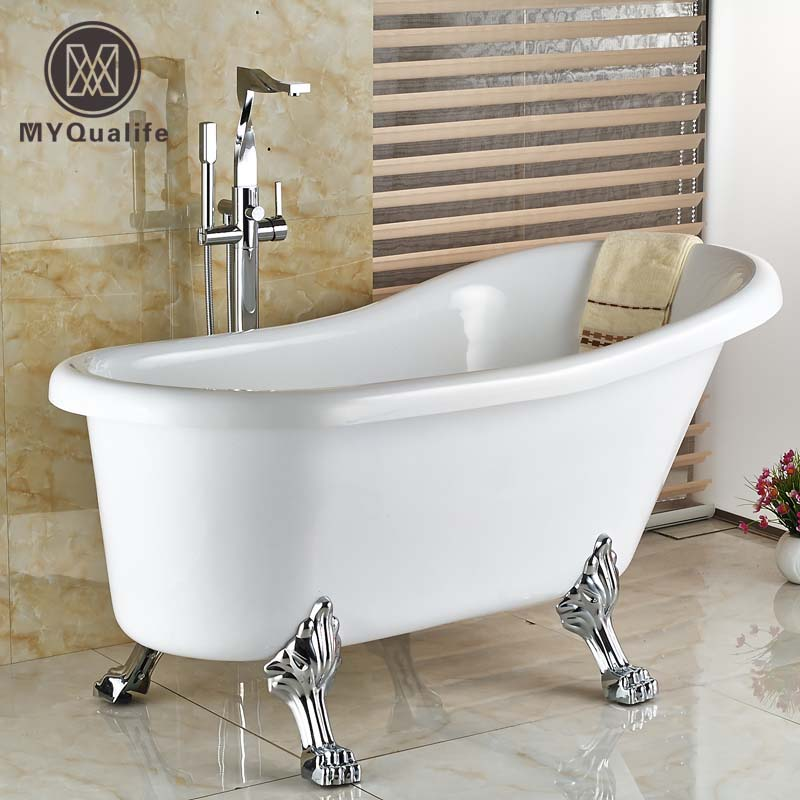 Творческий пол крепление одной ручкой Ванная комната ванна кран Набор стоящая Латунь Chrome Ванна смеситель