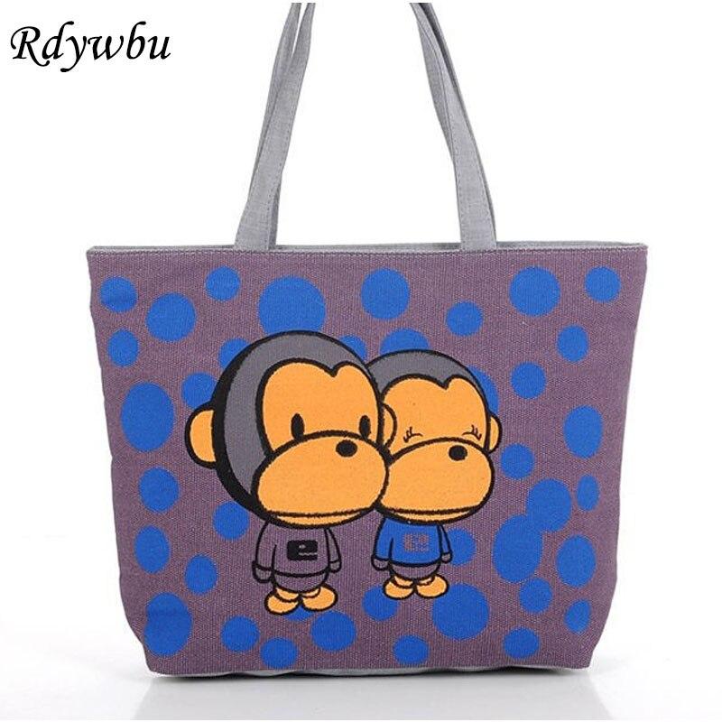 e233e7e6d660 Rdywbu женская сумка Пейзаж печати обезьяна мультфильм канва ежедневно  Торговый Мягкая Слинг Сумка Кошелек складной BB32