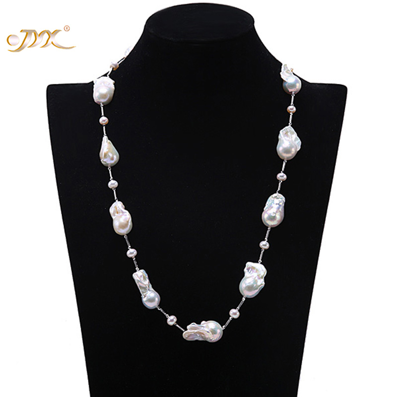 JYX Long Pearl Necklace Big White Baroque Freshwater Cultured Pearl Necklace 925 antique silver chain Wedding Jewery Gift AAA