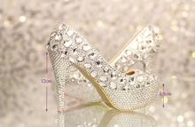 2016 Fashion silver rhinestone Party Prom pumps Bridal Dress shoes woman platforms  Wedding shoes women high heels crystal shoes
