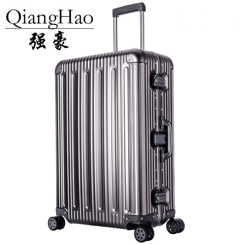 Designer 100 Aluminum Magnesium Alloy Trolley Suitcases Men Fashion Metal Rolling Luggage Women Travel Case Silver