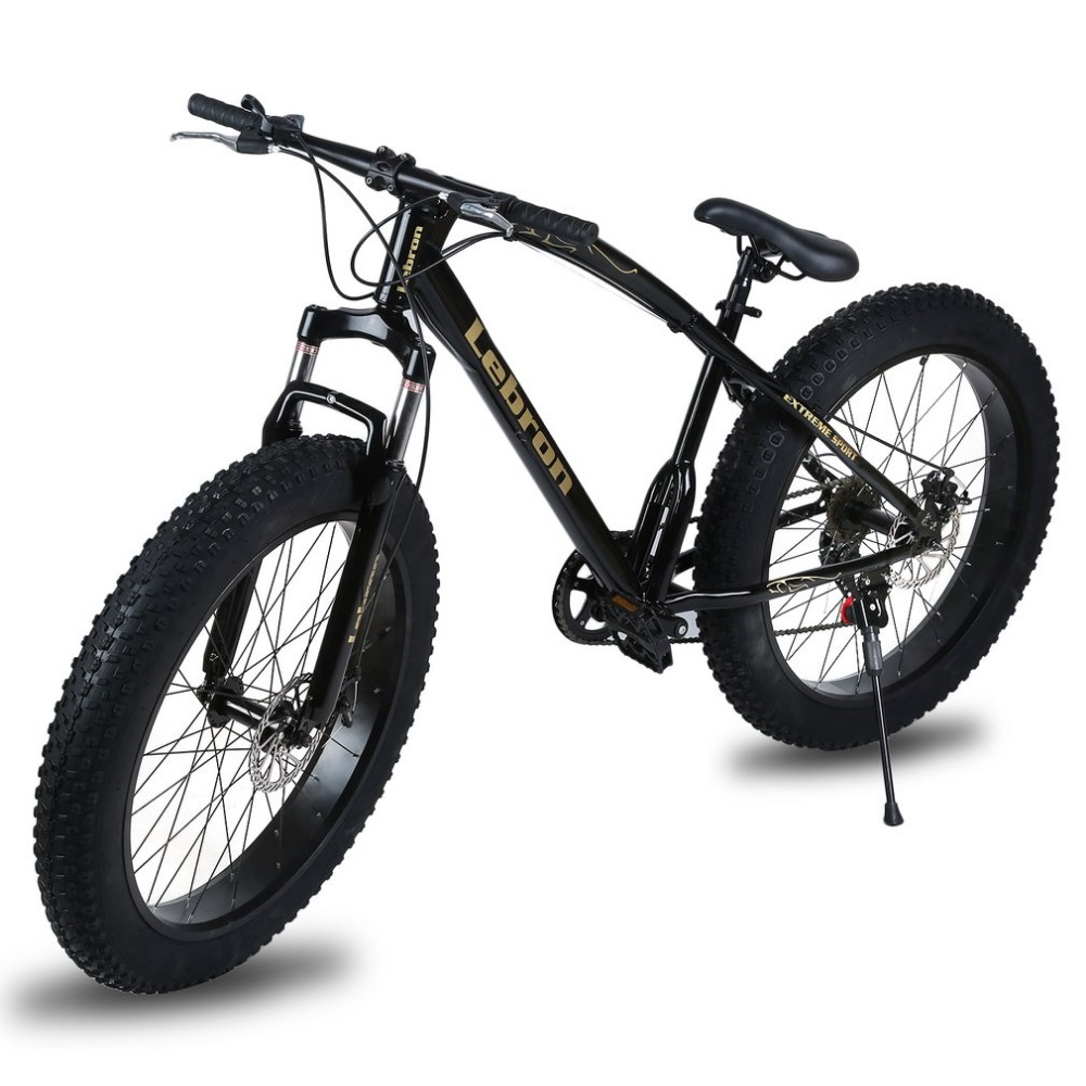 26X21 Inch 7 Speed Snow Bike Double Disc Braking System Bicycle Steel Frame Mountain Bike Outdoor Sports Exercise Bike New