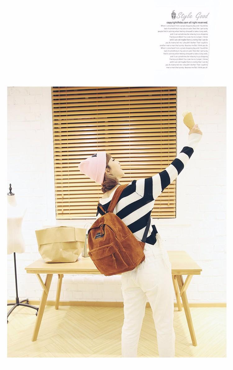 2016 New Women Backpack Preppy Style Suede Backpacks Teenage Girls School Bags Vintage Rivet Travel Backpack Burgundy Gray Black (9)