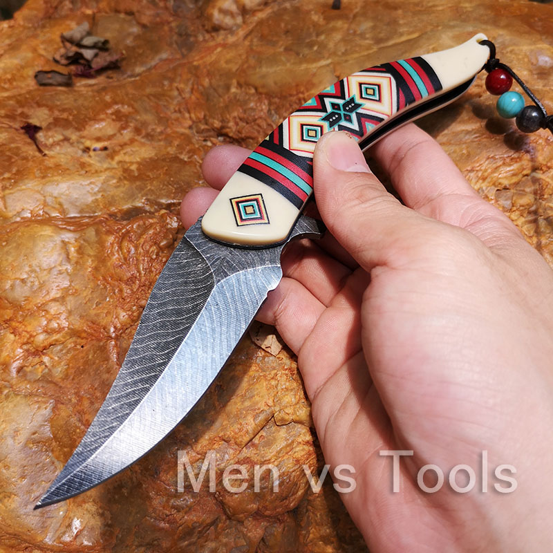 Tactical Knife Hunting Camping Fishing Knife Collection EDC tools Stonewash Blade three Color Indian Native Style Handle