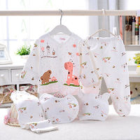 5PCS Set Newborn Baby Clothing 0 3 Month Boy Girls Cotton Cartoon Underwear Clothes Wholesale