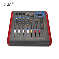 ELM караоке аудио микшер усилитель профессиональный bluetooth 4 канала Микрофон Звук микшерный пульт с USB 48 V Phantom Мощность