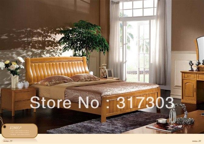 Factory Wholesale Solid Wood Double Bed, Modern Design, Bedroom Furniture Set, Solid Wood Bed