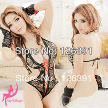Black Lace Design With Red Bandage Sexy Lingerie,Wild Sleepwear With Gloves For Women,Backless Underwear,Exotic Babydoll JY-18 цена