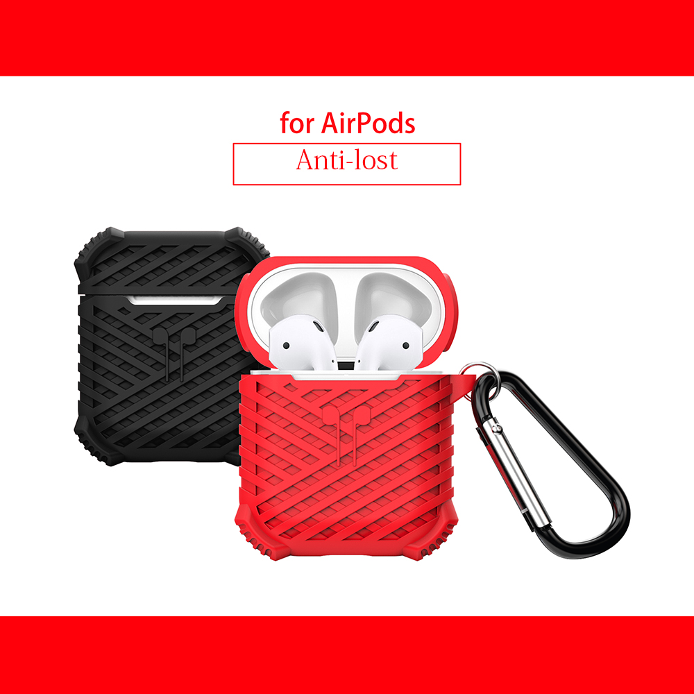 Luxury soft silicone Cover For AirPods Case High Quality Case With Hook Charging Box For Air Pods Anti lost cover Silicone Case in Earphone Accessories from Consumer Electronics